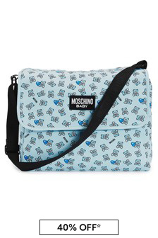 Moschino Kids Baby Boys Blue Cotton Changing Bag