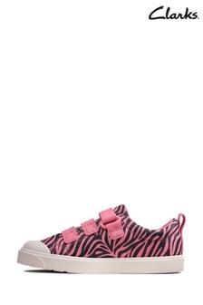 Clarks Pink Combi City Vibe K Canvas Velcro Shoes