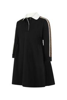 Girls Black Logo Trim Dress