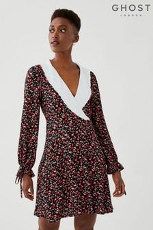 Ghost Piper Love Ditsy Print Crepe Dress