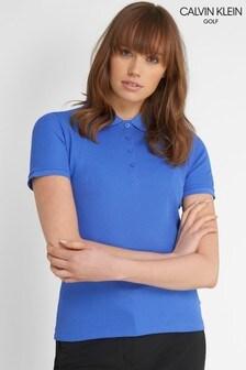 Calvin Klein Golf Blue Performance Cotton Blend Pique Poloshirt