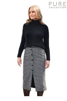 Pure Collection Black Wool Blend Button Through Midi Skirt