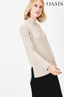 Oasis Natural Turtle Neck Knit Jumper