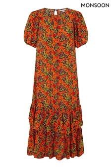 Monsoon Orange Romana Tiered Hem Midi Dress