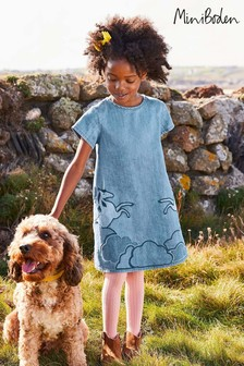 Boden Denim Unicorn Appliqué Woven Dress