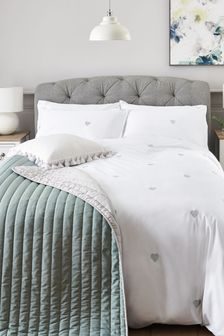 White With Silver Hearts Embroidered Duvet Cover and Pillowcase Set