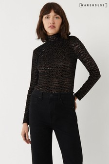 Warehouse Bronze Velvet Leopard Funnel Neck Jumper