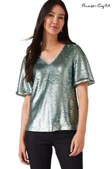 Phase Eight Green Adara Sequin Blouse