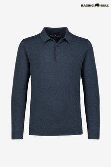 Raging Bull Navy Long Sleeve Signature Knitted Polo