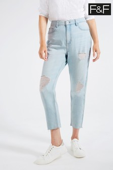 F&F Light Wash Mom Ripped Bleach Wash Jeans