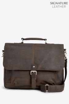 0abfbcaf56 Signature Leather Oily Briefcase