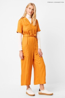 French Connection Yellow Enzo Drape Belted Jumpsuit