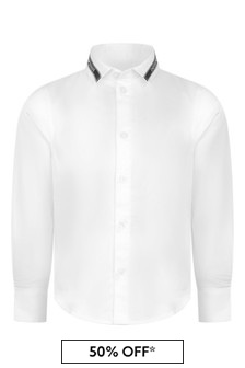 Boys White Cotton Logo Tape Shirt