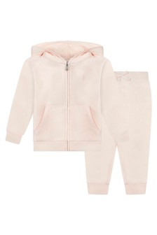 Baby Girls Pink Velour Tracksuit