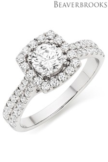 Beaverbrooks 9ct White Gold Cubic Zirconia Halo Ring