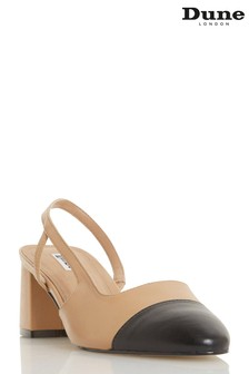 Dune London Crofts Camel Leather Mid Block Heel Slingbacks