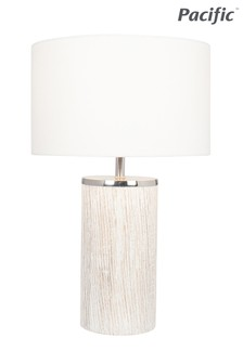 Haley White Wash Wood Column Table Lamp by Pacific Lifestyle