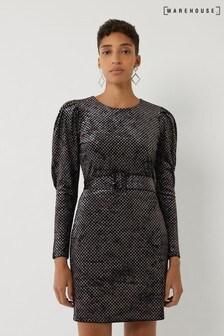 Warehouse Black Sparkle Belted Dress