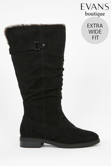 Evans Extra Wide Fit Black Faux Fur Lined Rider Boots