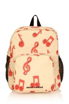 Kids Beige Notes Backpack