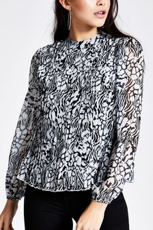 River Island Black Print Megan Pleated Top