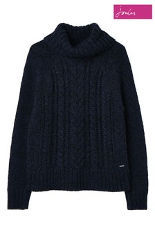 Joules Blue Carmella Knitted Cable Jumper