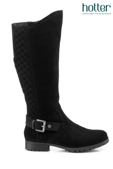 Hotter Black Sandringham Zip Fastening Quilted Knee High Boots