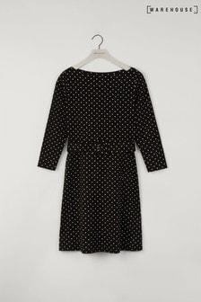 Warehouse Black Polka Dot Slash Neck Dress