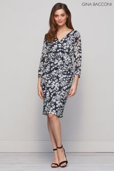 Gina Bacconi Navy Rhiannon Floral Stretch Dress