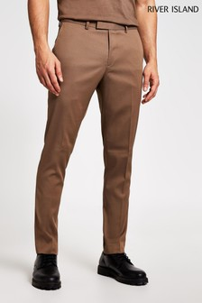 River Island Beige Skinny Suit Trousers