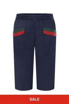 GUCCI Kids Baby Boys Navy Woollen Trousers