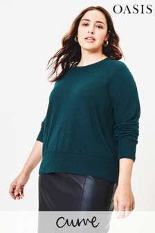 סוודר למידות גדולות דגם Rebecca בירוק של Oasis