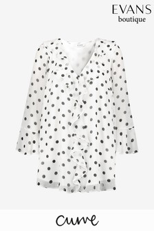 Evans Curve Ivory Spot Frill Front Top