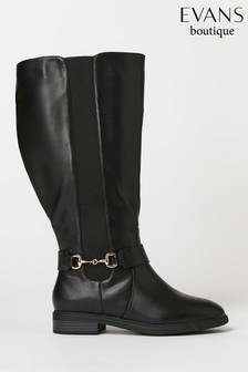 Evans Extra Wide Fit Black And Gold Trim High Leg Boots