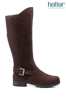 Hotter Brown Sandringham Zip Fastening Quilted Knee High Boots