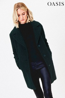 Oasis Green Bouclé Teddy Coat