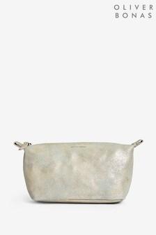 Oliver Bonas Grey Zoya Metallic Make-Up Bag