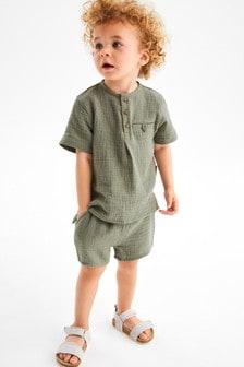 Soft Double Cloth Shirt And Shorts Set (3mths-7yrs)