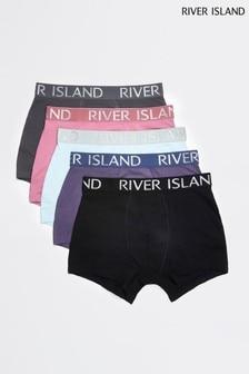 River Island Purple Drench Colour Boxers Five Pack
