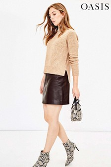 Oasis Brown Leather Mini Skirt