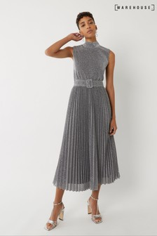 Warehouse Silver Metallic Pleated Midi Dress
