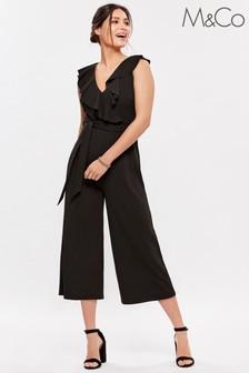 M&Co Black Frill Culotte Jumpsuit