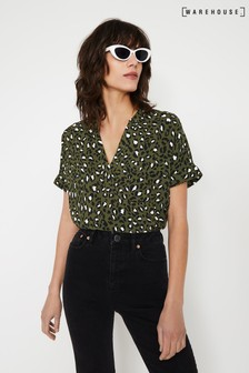 Warehouse Green Leopard Print Relaxed Top