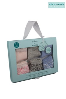 aden + anais Pink Leopard Six Pack Baby Cotton Socks Gift Set