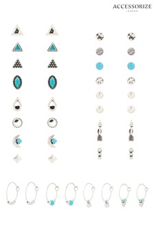 Accessorize Sterlings Silver Ethnic Stud Pack