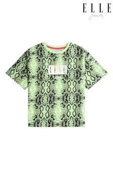 ELLE Green Snake Print Boxy T-Shirt