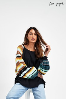 Free People Black Rainbow Dreams Sweater