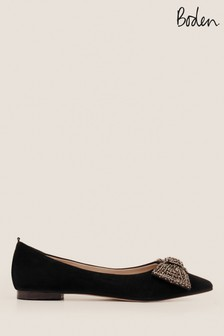Boden Black Adelaide Jewelled Flats