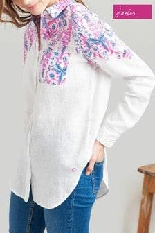 Joules White Jeanne Print Longline Linen Shirt