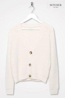Sonder Studio White V-Neck Button Through Cardigan